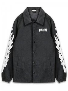 <strong>THRASHER</strong>FLAME EMBLOIDERD COACH JACKET<br>BLACK × WHITE