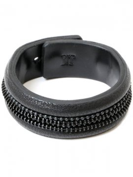<strong>BLACK TRIANGLE DESIGN</strong>ZIP CHAIN leather bracelet<br> BLACK × BLACK