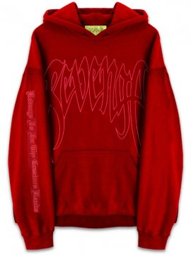<strong>REVENGE GALLERY</strong>'KILL' OUTLINE RED SWEAT HOODIE<br>DEEP RED