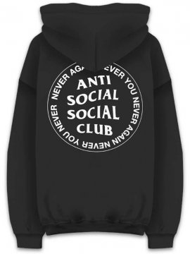 <strong>ANTI SOCIAL SOCIAL CLUB</strong>NEVER AGAIN NEVER YOU SWEAT HOODIE<br>BLACK/WHITE