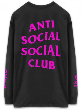 <strong>ANTI SOCIAL SOCIAL CLUB</strong> GET WEIRD LONG SLEEVE T-SHIRT <br>BLACK x HOT PINK