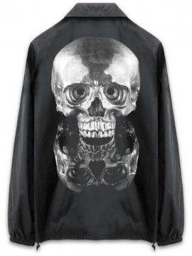 <strong> Kazumichi MARUOKA / 丸岡和吾 </strong>MIRROR SKULL COACH JACKET<br>BLACK