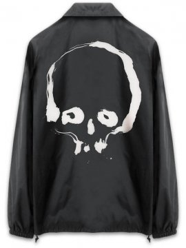 <strong> Kazumichi MARUOKA / 丸岡和吾 </strong>BRUSH SKULL COACH JACKET<br>BLACK