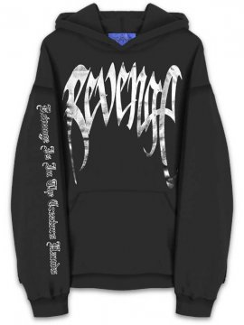 <strong>REVENGE</strong>'METAL' BLACK SWEAT HOODIE<br>BLACK/FOIL SILVER