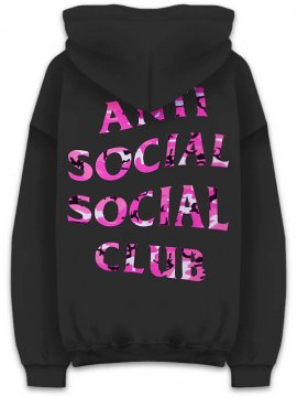 <strong>ANTI SOCIAL SOCIAL CLUB</strong>BEVERLY BLACK SWEAT HOODIE<br>BLACK / PINK WOODLAND