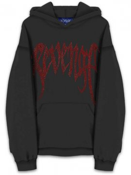 <strong>REVENGE GALLERY</strong>'SHINE' DIAMOND BLACK SWEAT HOODIE<br>BLACK / RED DIME