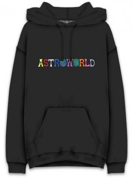 <strong>TRAVIS SCOTT ASTROWORLD MERCH.</strong>ASTROWORLD LOGO SWEAT HOODIE<br>BLACK