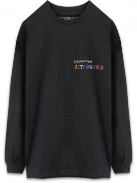 <strong>TRAVIS SCOTT ASTROWORLD MERCH.</strong>GREETINGS FROM LONGSLEEVE T-SHIRT<br>BLACK