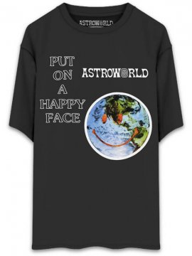 <strong>TRAVIS SCOTT ASTROWORLD MERCH.</strong>HAPPY FACE T-SHIRT<br>BLACK