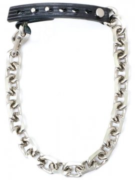 <strong>BLACK TRIANGLE DESIGN</strong> BIG CHAIN & leather short necklace <br>SILVER