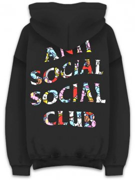 <strong>ANTI SOCIAL SOCIAL CLUB</strong>ASSC x BT21 COLLAB  BLENDED BLACK SWEAT HOODIE<br>BLACK