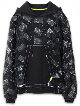 <strong>Mad Frenzy</strong>PATCH CRUST TYPE SWEAT HOODIE with PAINT<br>BLACK / BLUE