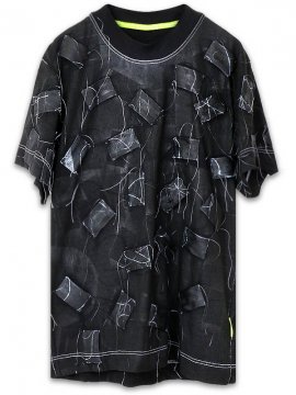 <strong>Mad Frenzy</strong>PATCH CRUST TYPE T-SHIRT with PAINT<br>BLACK / BLUE