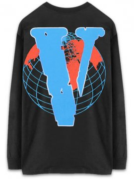 <strong>JUICE WRLD MERCHANDISE</strong>999 x VLONE VWRLD LONG SLEEVE BLUE T-SHIRT<br>BLACK x BLUE