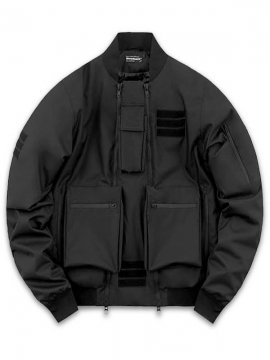 <strong>STEELBACK</strong>BOMBER JACKET with UTILITY POCKETS<br>BLACK