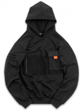 <strong>STEELBACK</strong>SWEAT HOODIE with UTILITY POCKET and PATCH<br>BLACK