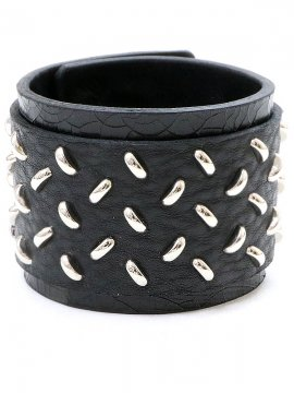 <strong>BLACK TRIANGLE DESIGN</strong>CHECKER PLATE studs leather bracelet<br>SILVER
