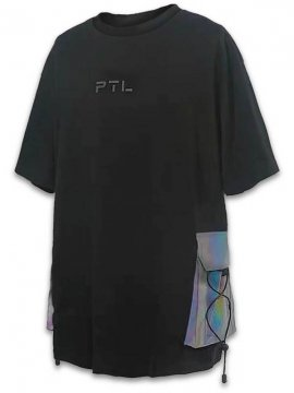 <strong>PUPIL TRAVEL</strong>SIDE RACEUP T-SHIRT<br>BLACK