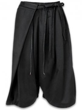 <strong>JOE CHIA</strong>WRAP AROUND CROPPED SKIRT PANTS<br>BLACK