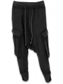 <strong>JOE CHIA</strong>DROPPED CROTCH CARGO POCKETED PANTS<br>BLACK