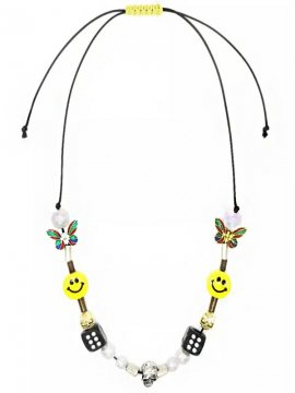 <strong>EVAE MOB</strong>EVAE MOB EVAE+SMILEY PEARL SALUTE NECKLACE<br>MULTI COLOR