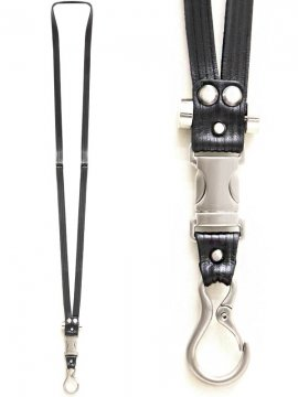 <strong>BLACK TRIANGLE DESIGN</strong>FASTEX buckle leather Neck holder<br>SILVER x BLACK STRIPE