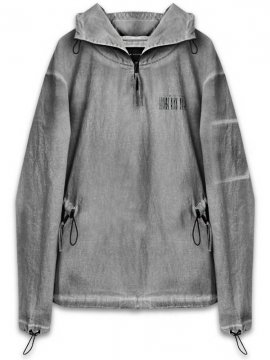 <strong>TOBIAS BIRK NIELSEN</strong>HOODED CANVAS TOP W ZIP AND ELASTIC DEPT,<br>GREY COLD GD