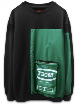 <strong>T3CM</strong>BLACK SWEAT SHIRT with PATCHWORK PACKAGE<br>BLACK / GREEN