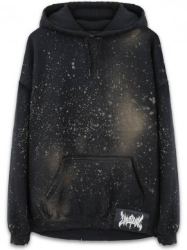 <strong>UNUSUAL</strong>DISCHARGING SCATTER SWEAT HOODIE<br>DISCHARGE BLACK