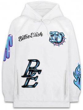 <strong>BILLIE EILISH MERCHADISE</strong>BERLIN AIRBRUSH SWEAT HOODIE<br>WHITE