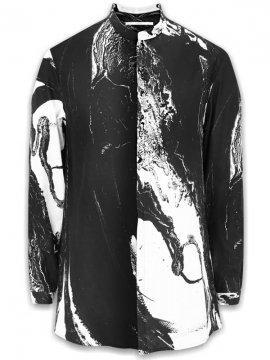 <strong>vital</strong>PRINT STAND UP COLLAR SHIRT<br>BLACK