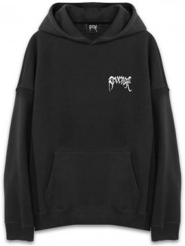 <strong>REVENGE GALLERY</strong>LOGO EMBLOIDERD BLACK SWEAT HOODIE<br>BLACK