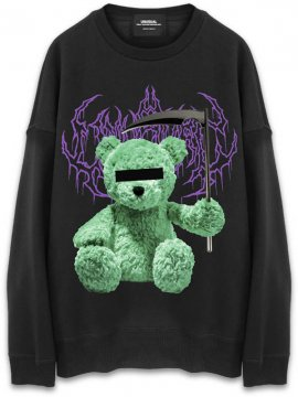 <strong>UNUSUAL</strong>UNNY BEAR SICKLE  OVERSIZED SWEAT CREW<br>BLACK / GREEN