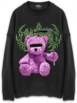 <strong>UNUSUAL</strong>UNNY BEAR SICKLE  OVERSIZED SWEAT CREW<br>BLACK / PINK