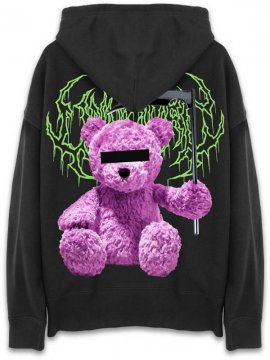 <strong>UNUSUAL</strong>UNNY BEAR SICKLE  OVERSIZED SWEAT HOODIE<br>BLACK / PINK