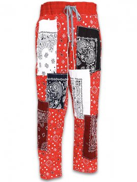 <strong>IMASINACHI NYC</strong>GREEN PAISLEY PANTS<br>RED - #18 - L