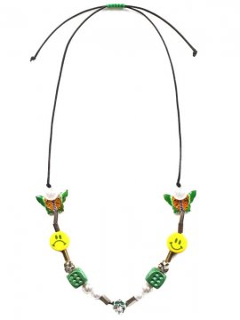 <strong>EVAE MOB</strong>EVAE MOB EVAE+SMILEY PEARL SALUTE NECKLACE<br>GREEN