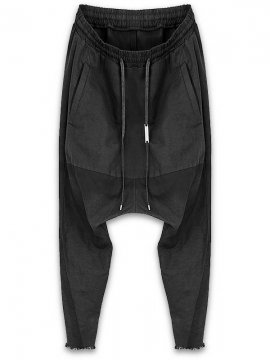 <strong>ARMY OF ME</strong>LINEN BLEND DROP CROTCH TROUSERS 40<br>BLACK