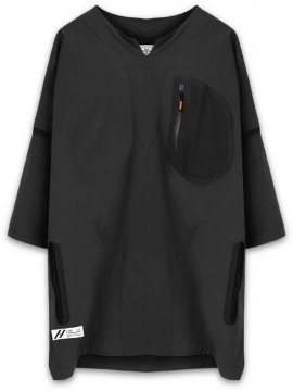 <strong>SIVA</strong>SEAMTAPE DASHIKI M-SLEEVE SHIRT<br>BLACK