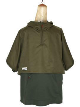<strong>SIVA</strong>LAYERED HOODED WIDE PULL S-SLEEVE<br>KHAKI