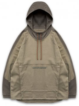 "<strong>GOOPiMADE</strong>""Mixed"" LOGO SWEAT HOODIE<br>BROWN / KHAKI"