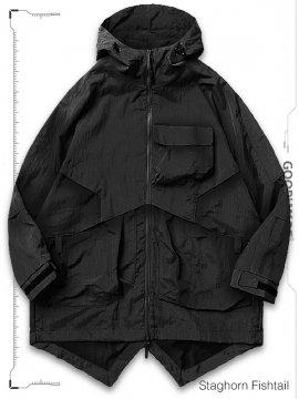 """<strong>GOOPiMADE</strong>MP-03T """"STAGHORN"""" FISHTAIL UTILITY PARKA JACKET<br>BLACK"""