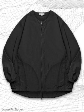 <strong>SIMPLE DESIGN</strong>LOOSE FIT ZIPPER SHIRT<br>BLACK