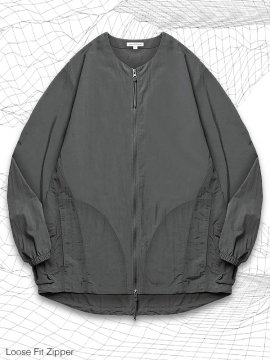 <strong>SIMPLE DESIGN</strong>LOOSE FIT ZIPPER SHIRT<br>GRAY