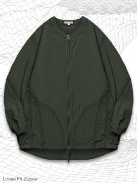 <strong>SIMPLE DESIGN</strong>LOOSE FIT ZIPPER SHIRT<br>OLIVE