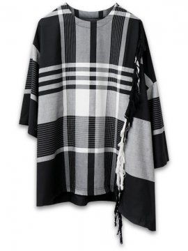 <strong>JOE CHIA</strong>PLAID CHECK BATIK TOP with FRINGE<br>BLACK x WHITE CHECK