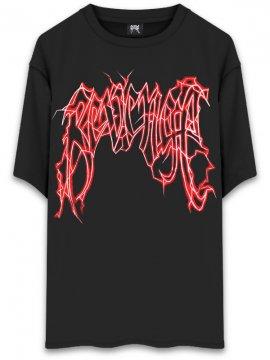<strong>REVENGE GALLERY</strong>LIGHTNING LOGO BLACK RED T-SHIRT<br>BLACK x RED