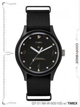 "<strong>GOOPiMADE × TIMEX</strong>""Reversed Sundial"" GT-01 Mil-W-93510G Wristwatch<br>BLACK"