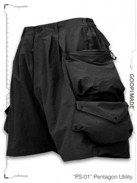 "<strong>GOOPiMADE</strong>""PS-01"" Pentagon Utility Shorts<br>BLACK"