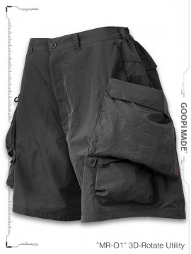 """<strong>GOOPiMADE</strong>""""MR-01"""" 3D-Rotate Utility Shorts<br>DARK GREY"""